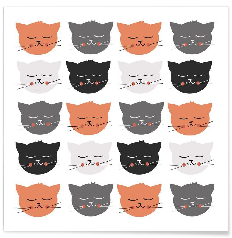 Katzen, Kinderzimmer & Kunst für Kinder, Cat Madness -Poster