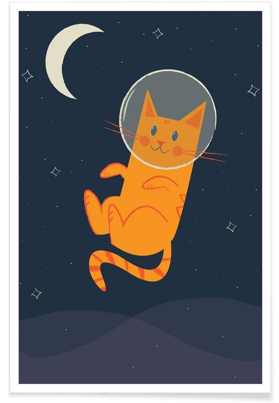 Katten, Kunst voor kinderen, Floating Space Cat poster