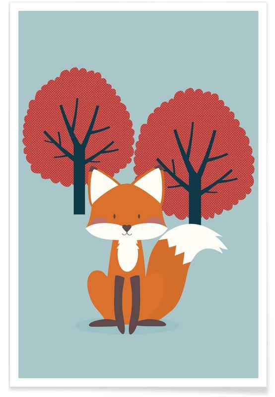 Füchse, Kinderzimmer & Kunst für Kinder, Foxy Friend -Poster