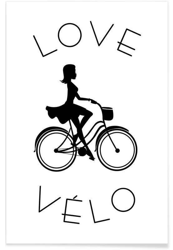 Vélos, Noir & blanc, Love Vélo Noir affiche