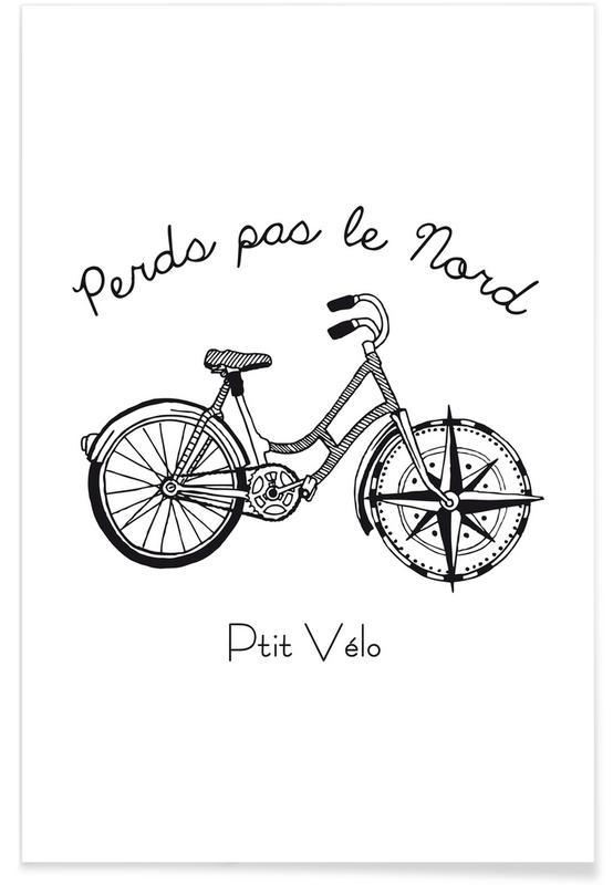 Bicycles, Black & White, Travel, Perds Par Le Nord Noir Poster