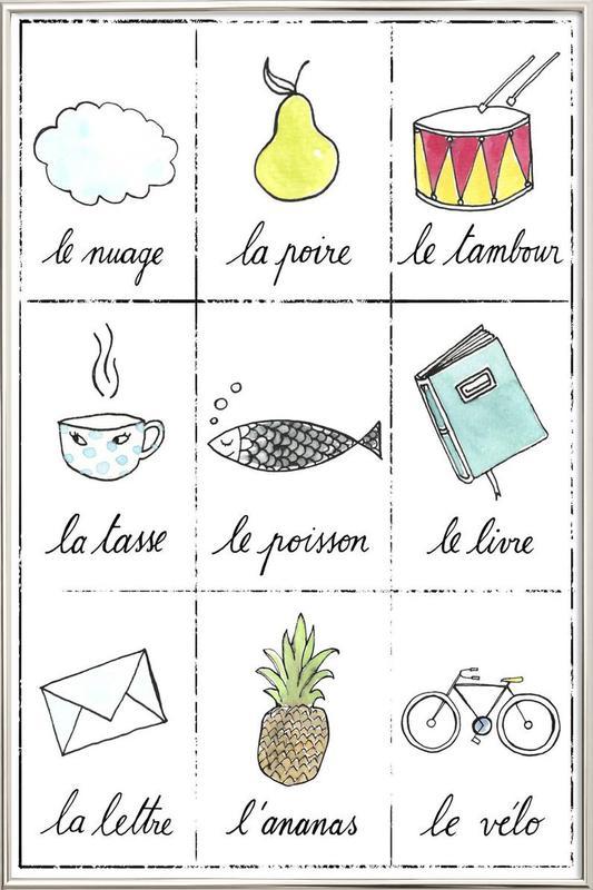Petit cours de français 1 affiche sous cadre en aluminium