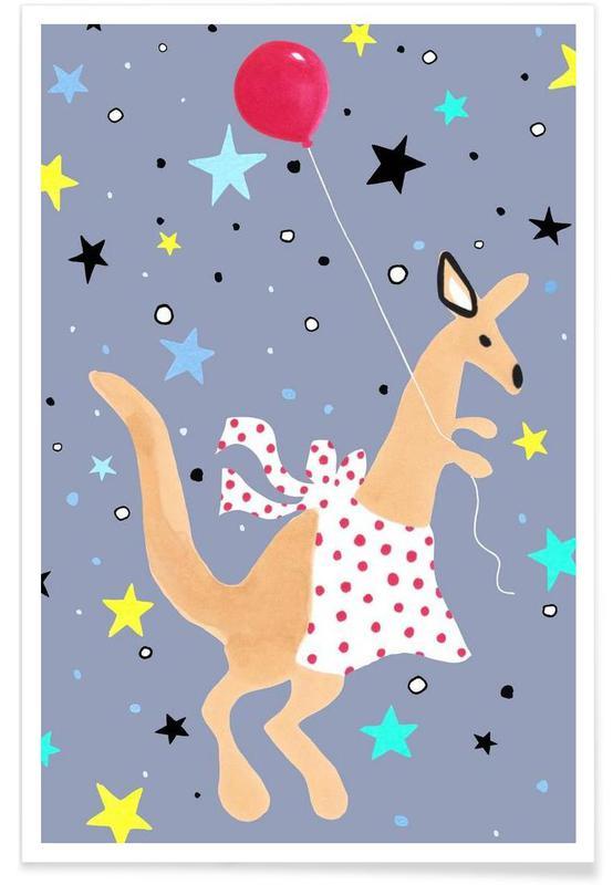 Kinderzimmer & Kunst für Kinder, Känguru -Poster