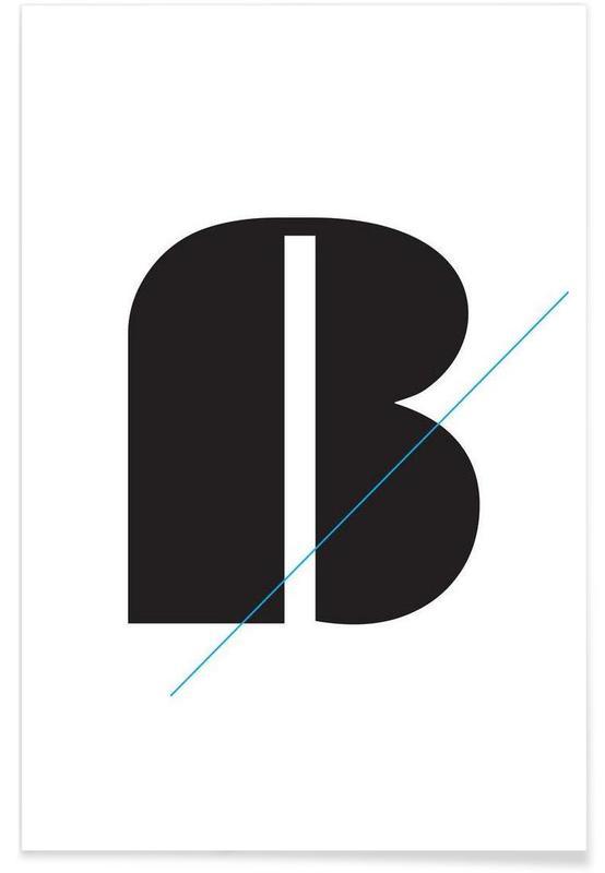 Alphabet et lettres, Noir & blanc, Eszet in black affiche