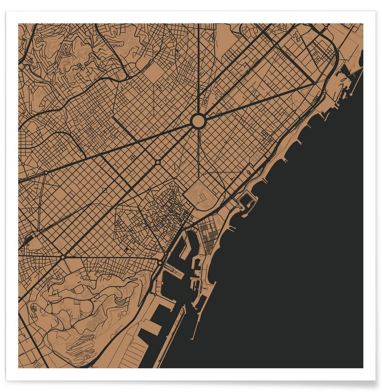 Barcelona, Stadskaarten, Barcelona Brown poster
