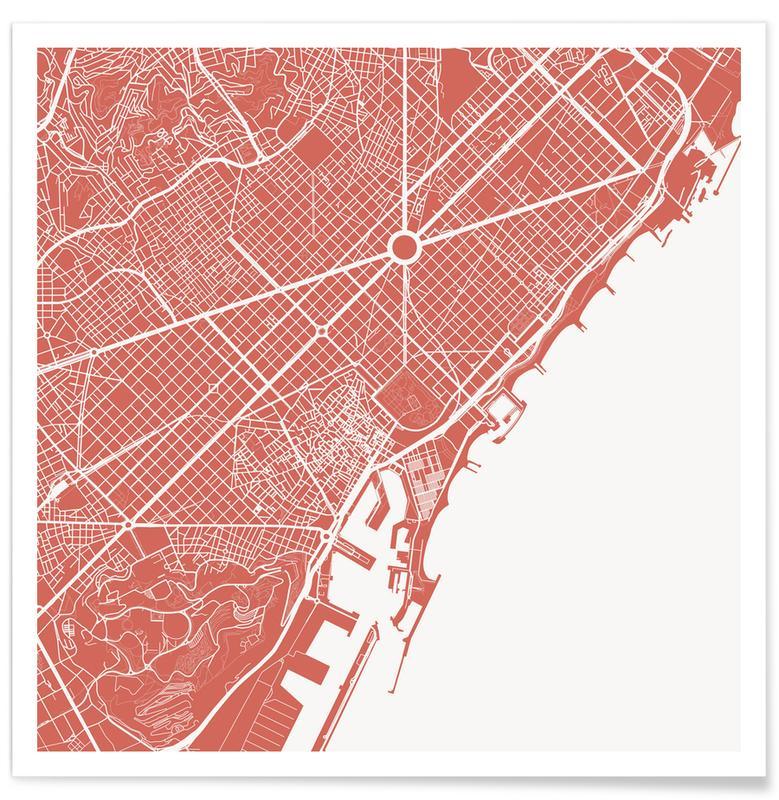 Barcelona, Stadskaarten, Barcelona Pink poster
