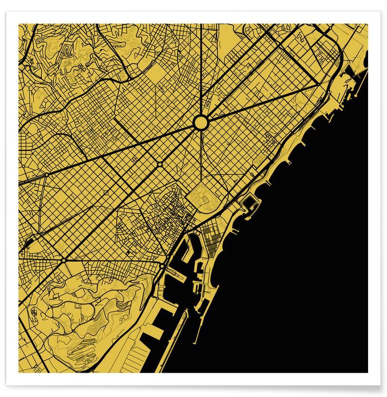 Barcelona, Stadskaarten, Barcelona Yellow poster