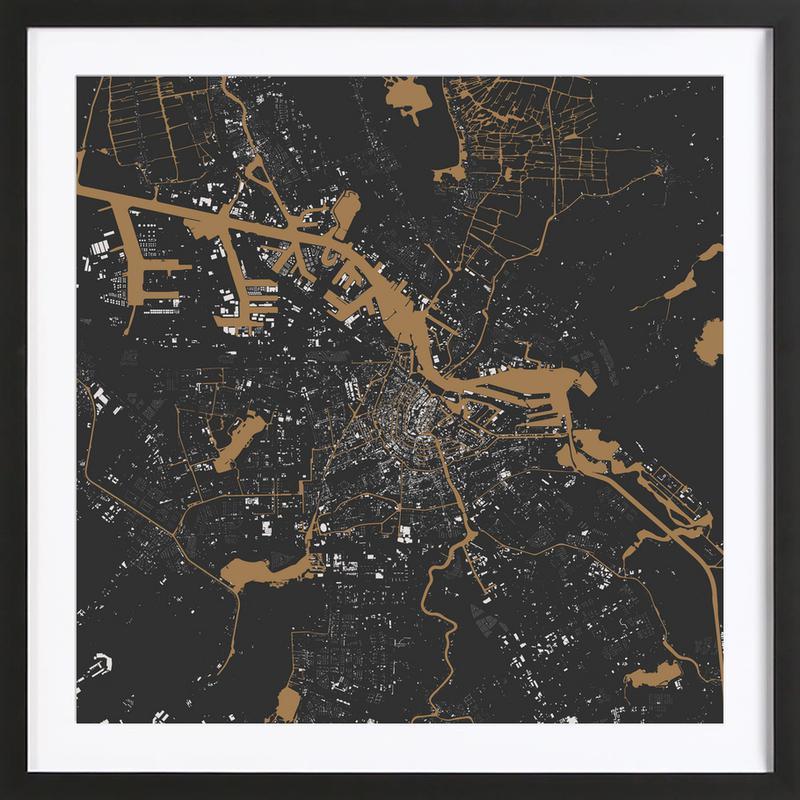 Amsterdam Brown -Bild mit Holzrahmen