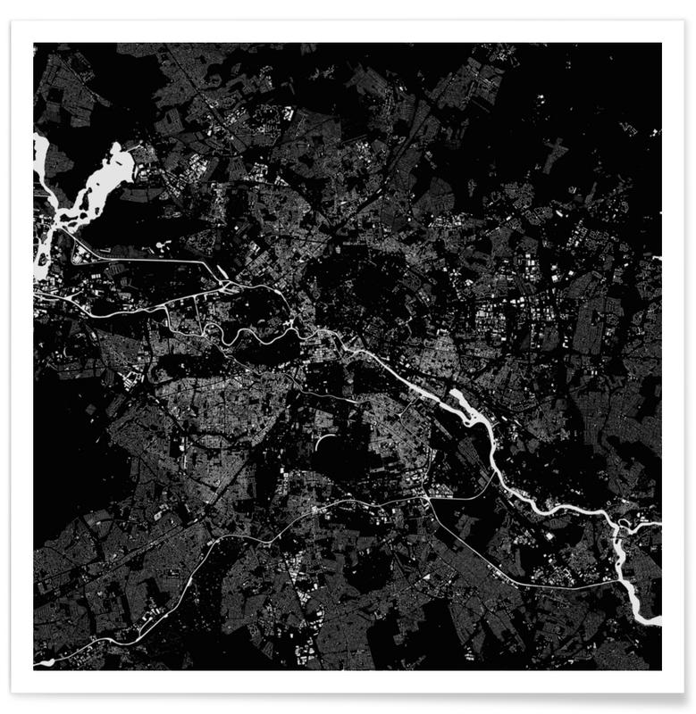 Zwart en wit, Berlijn, Stadskaarten, Berlin Black poster
