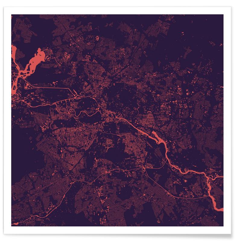 Berlin, Stadtpläne, Berlin Purple -Poster