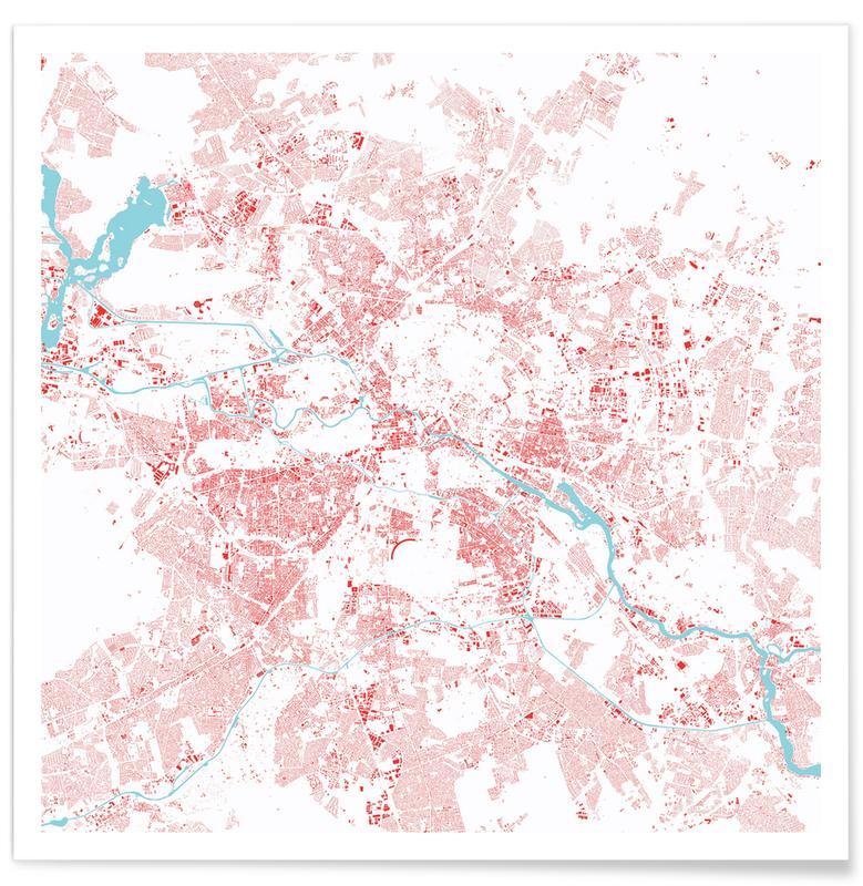 Berlin, Stadtpläne, Berlin Red -Poster