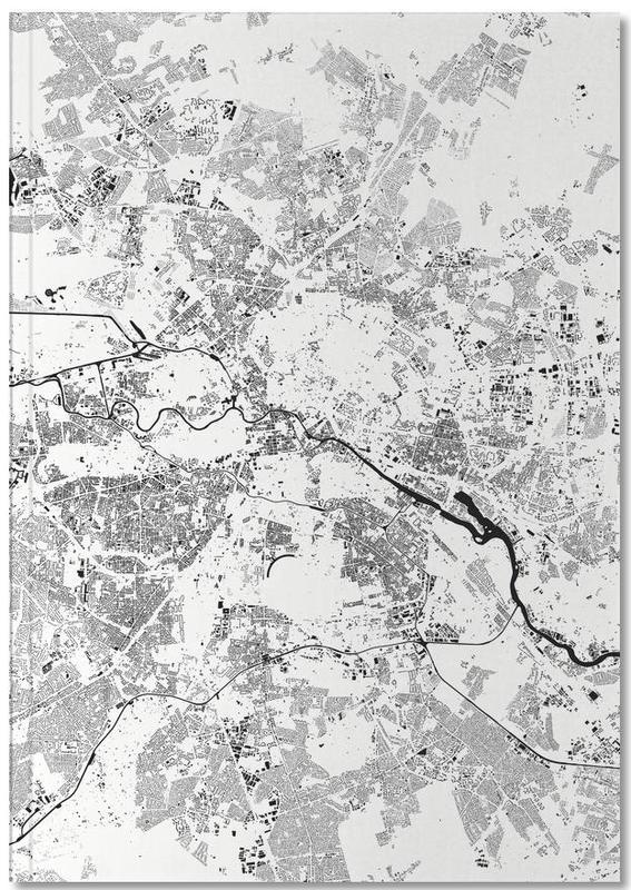 Cartes de villes, Noir & blanc, Berlin, Berlin White Notebook