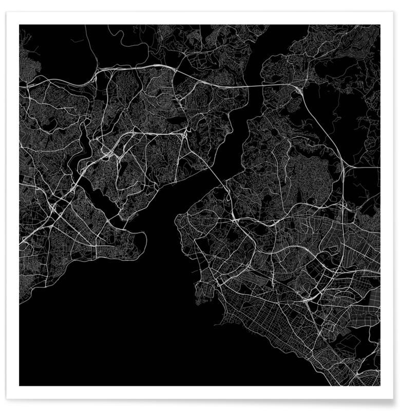 Istanbul, Black & White, City Maps, Traffic Istanbul Black Poster