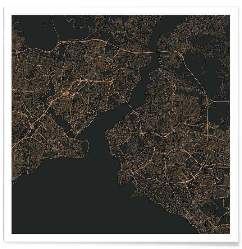 Istanbul, City Maps, Traffic Istanbul Brown Poster