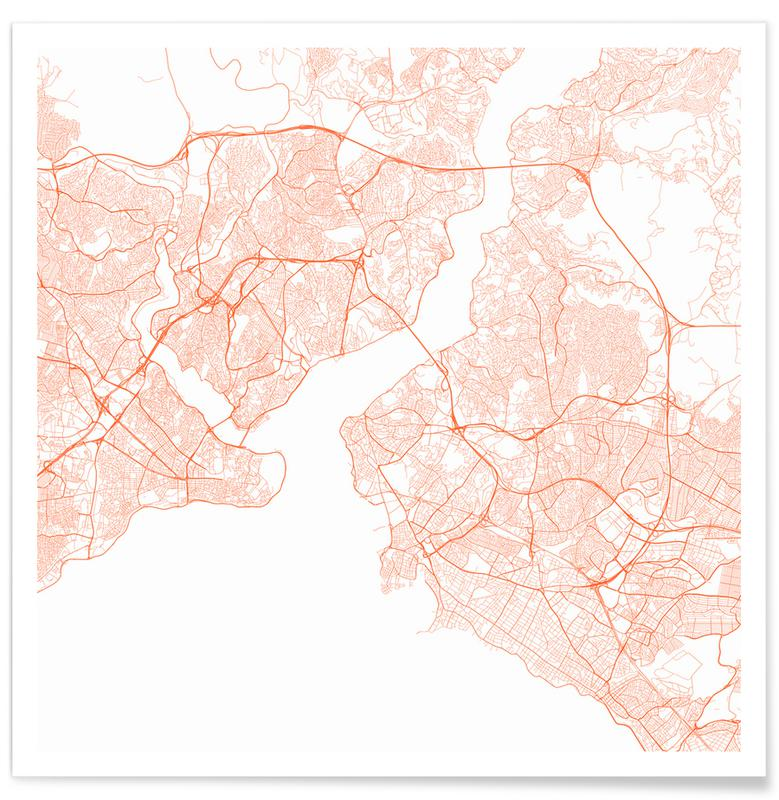 Istanbul, City Maps, Traffic Istanbul Red Poster