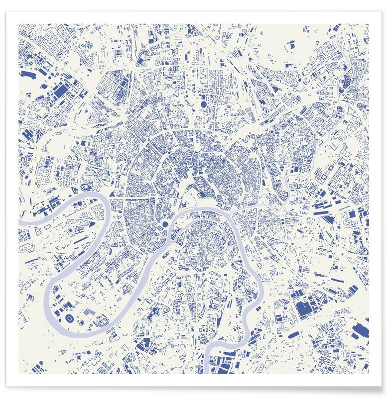 Stadskaarten, Moscow Blue poster