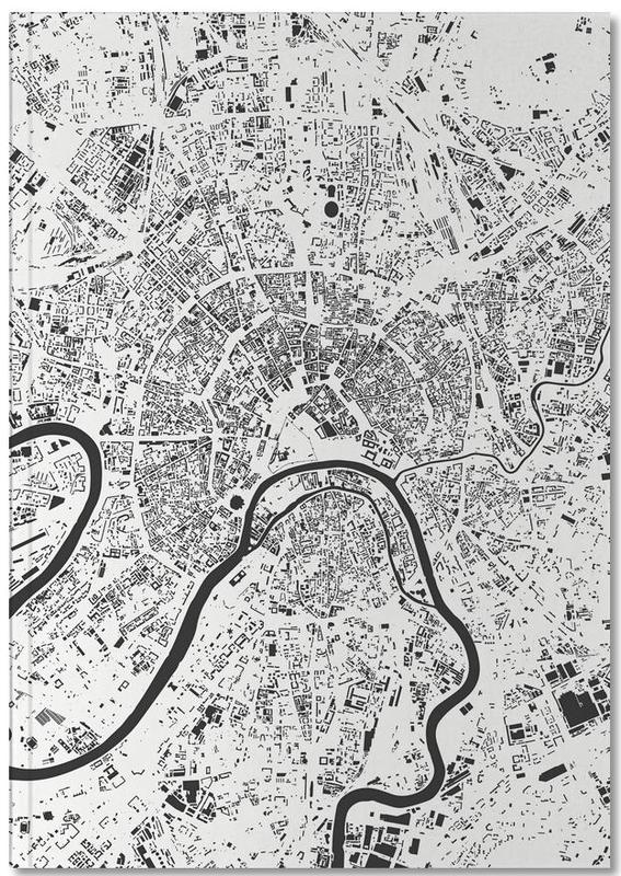 Noir & blanc, Cartes de villes, Moscow White Notebook