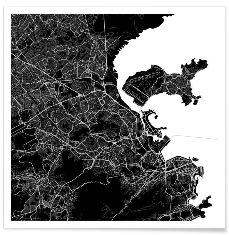 Rio de Janeiro, Black & White, City Maps, Rio Black Poster