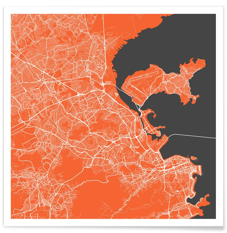Rio de Janeiro, City Maps, Rio Red Poster