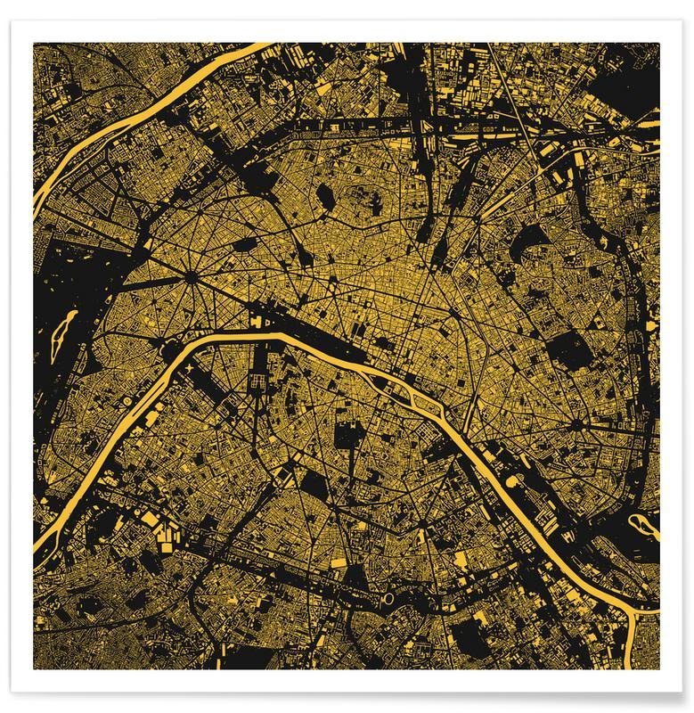 Stadtpläne, Paris, Paris Yellow -Poster