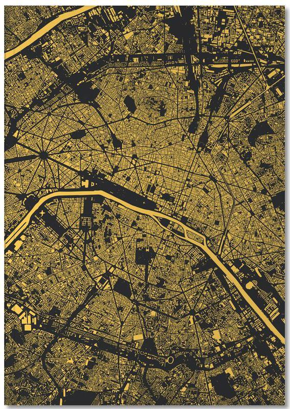 Cartes de villes, Paris, Paris Yellow Notebook