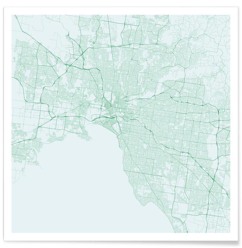 Stadtpläne, Traffic Melbourne Green -Poster
