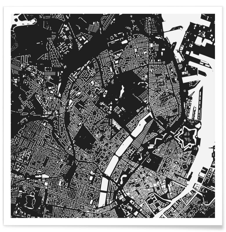Black & White, City Maps, Copenhagen, Copenhagen Black Poster