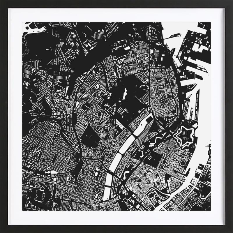 Copenhagen Black -Bild mit Holzrahmen