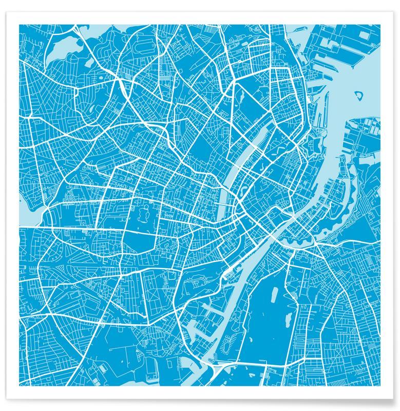 City Maps, Copenhagen, Copenhagen Blue Poster