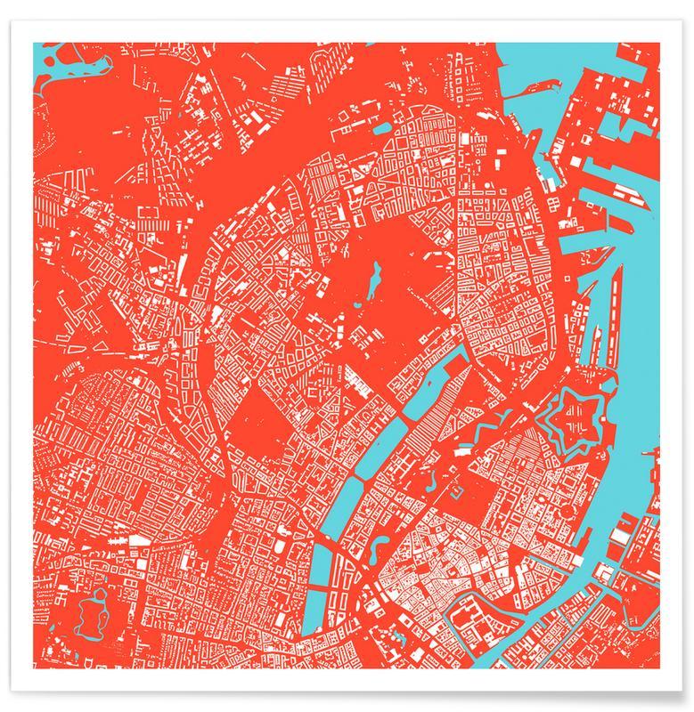 Stadtpläne, Kopenhagen, Copenhagen Red -Poster