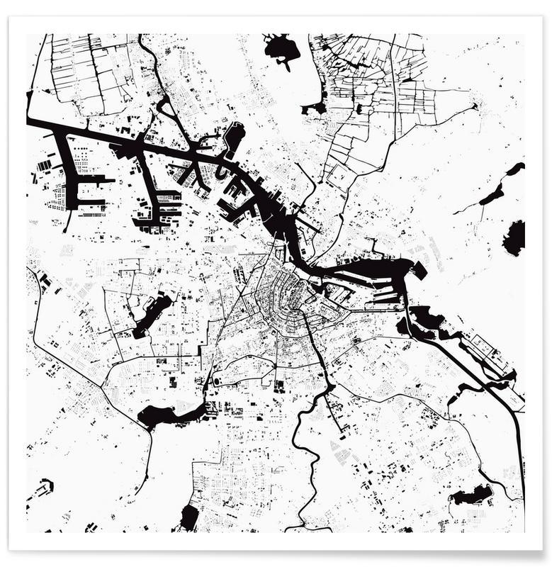 Zwart en wit, Amsterdam, Stadskaarten, Amsterdam White poster
