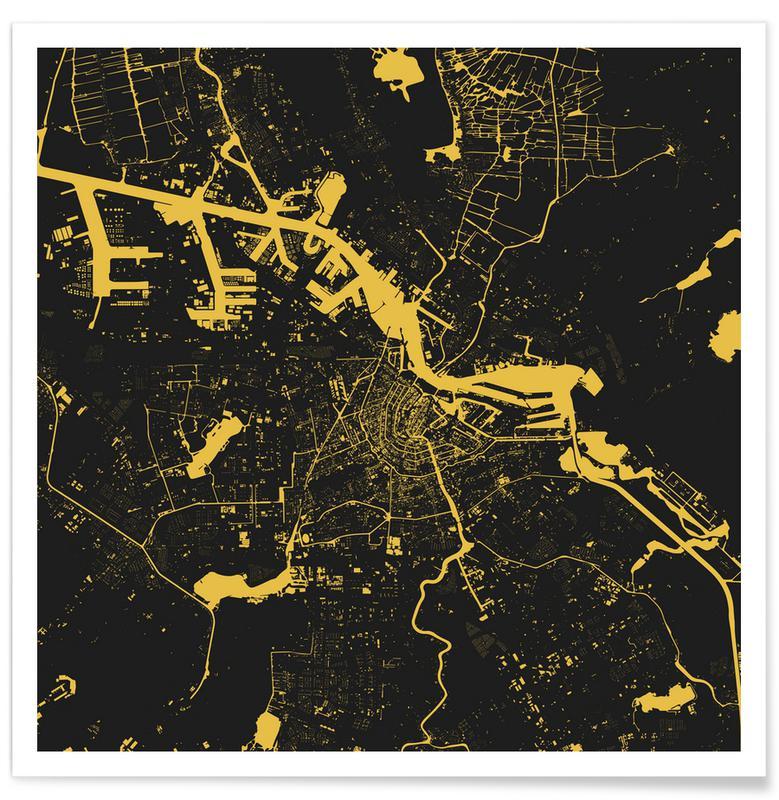 Amsterdam, Cartes de villes, Amsterdam Yellow affiche