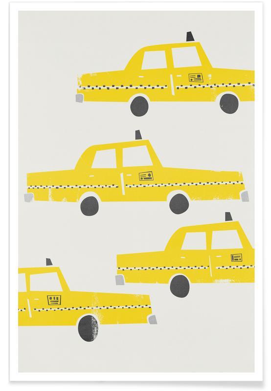 Rétro, Voitures, New York, Taxi! affiche