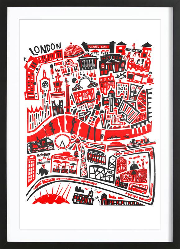 Busy London Map Framed Print
