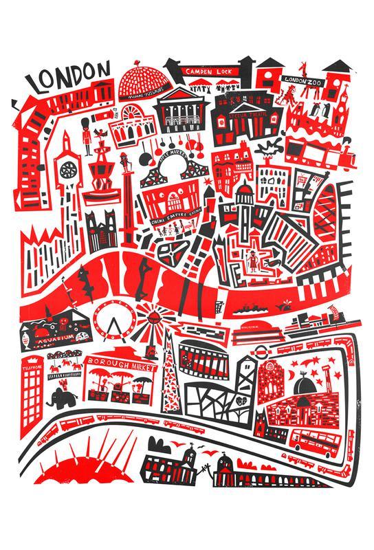 Busy London Map acrylglas print