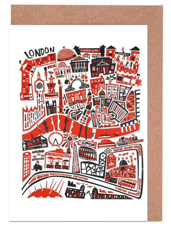 Busy London Map Greeting Card Set