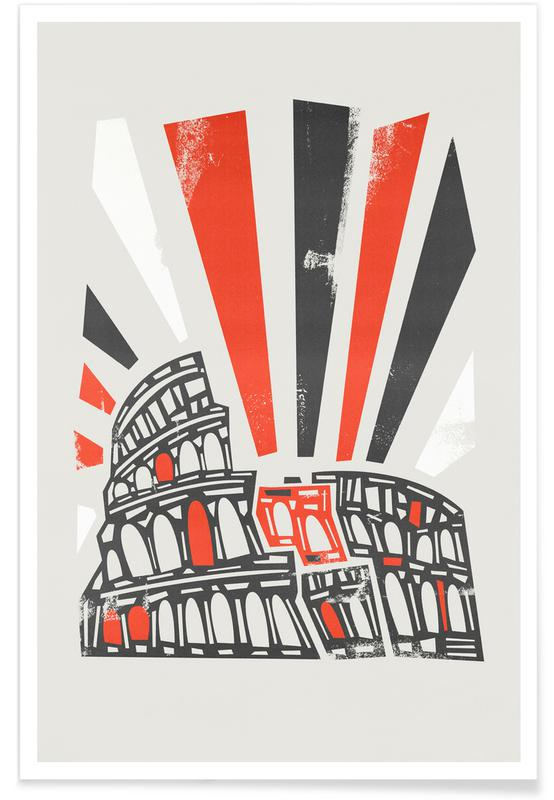 Sehenswürdigkeiten & Wahrzeichen, Retro, Rom, Colosseum -Poster