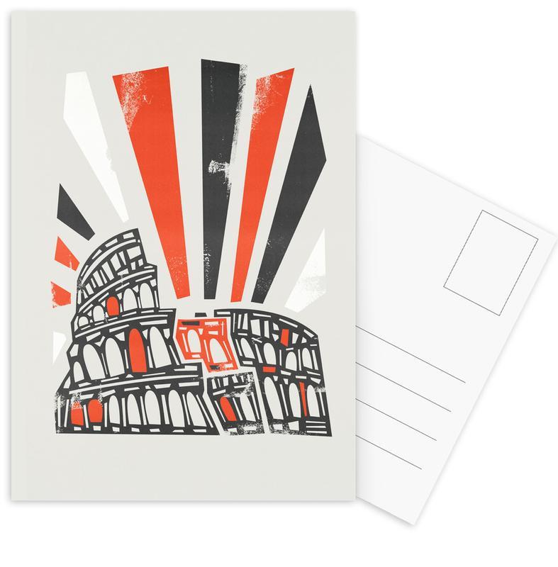 Rome, Retro, Sights & Landmarks, Colosseum Postcard Set