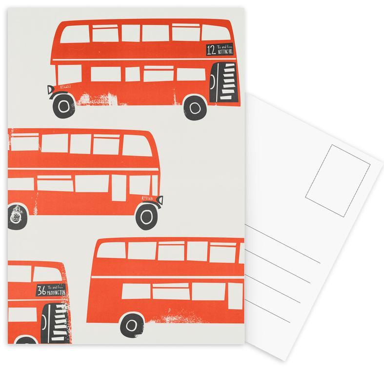 London, London Busses Postcard Set