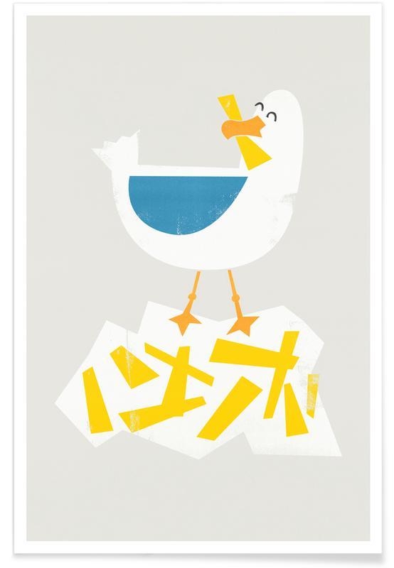Børneværelse & kunst for børn, Måger, Hungry Seagull Plakat