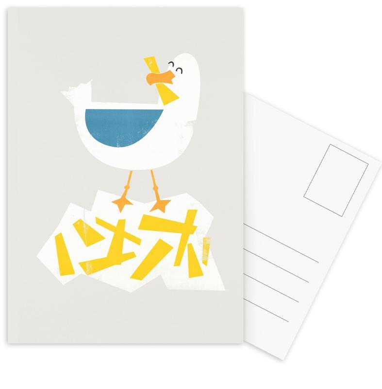 Nursery & Art for Kids, Seagulls, Hungry Seagull Postcard Set