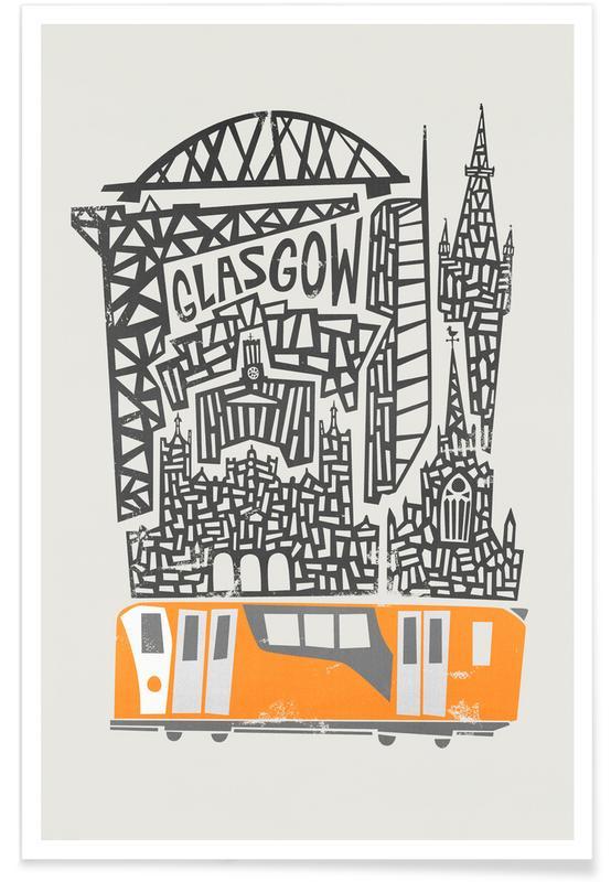 Retro, Sights & Landmarks, Glasgow Cityscape Poster