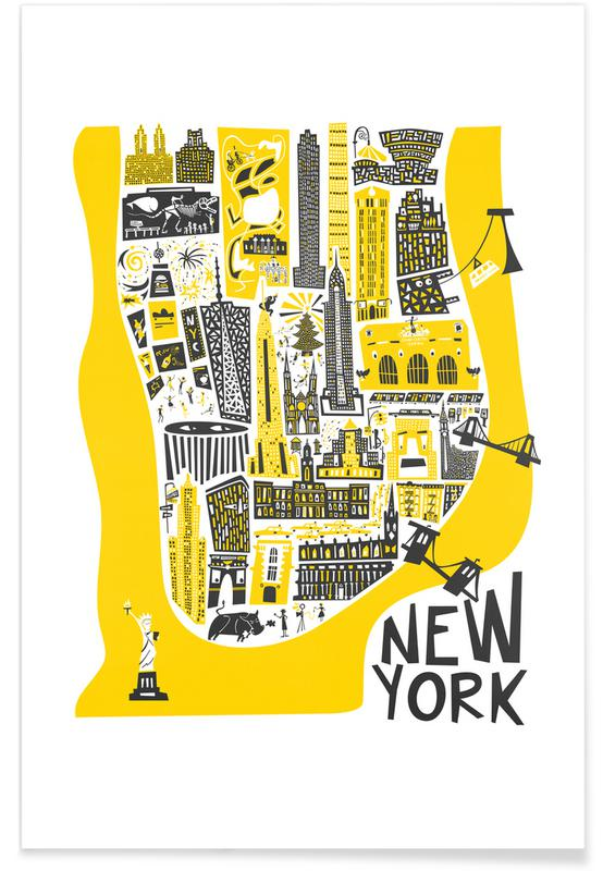 New York, New York Map Poster