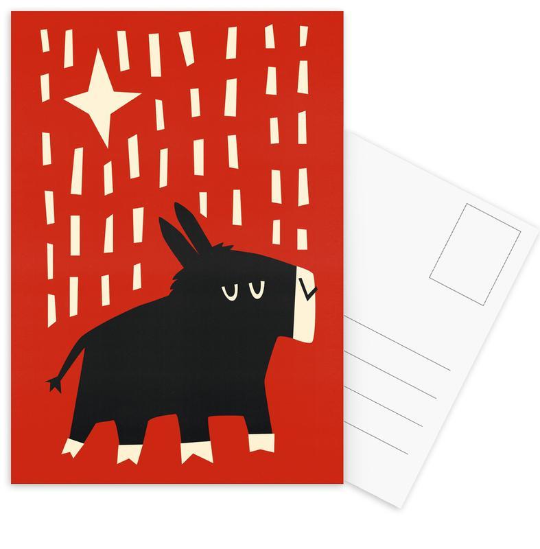 Christmas, Nursery & Art for Kids, Donkey Postcard Set
