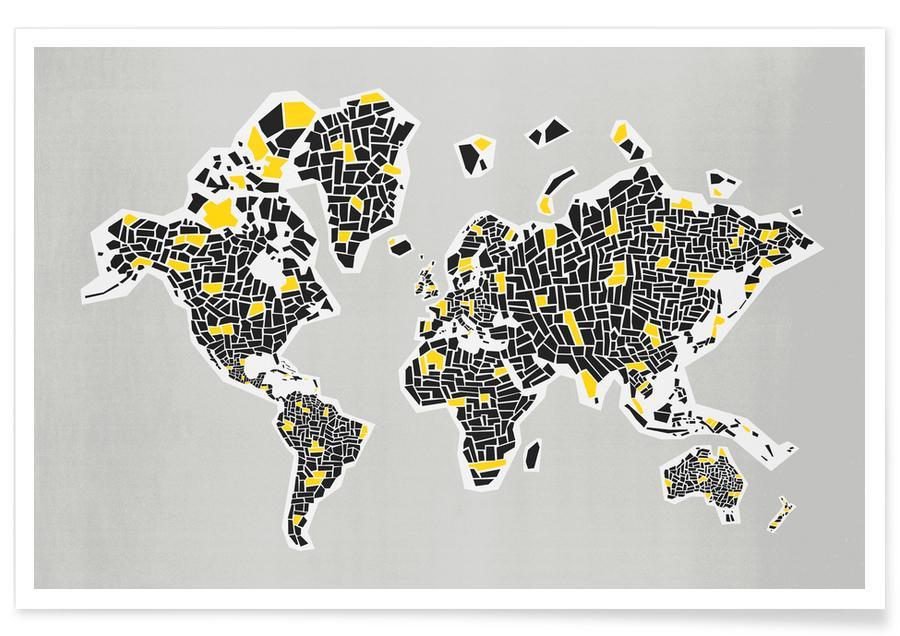 Weltkarten, Abstract World Map -Poster