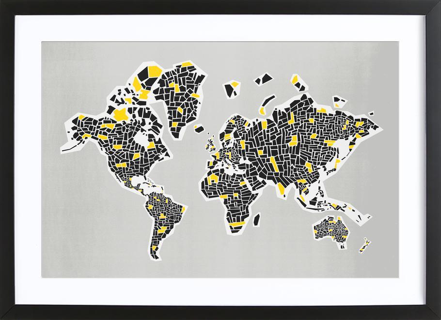 Abstract World Map -Bild mit Holzrahmen