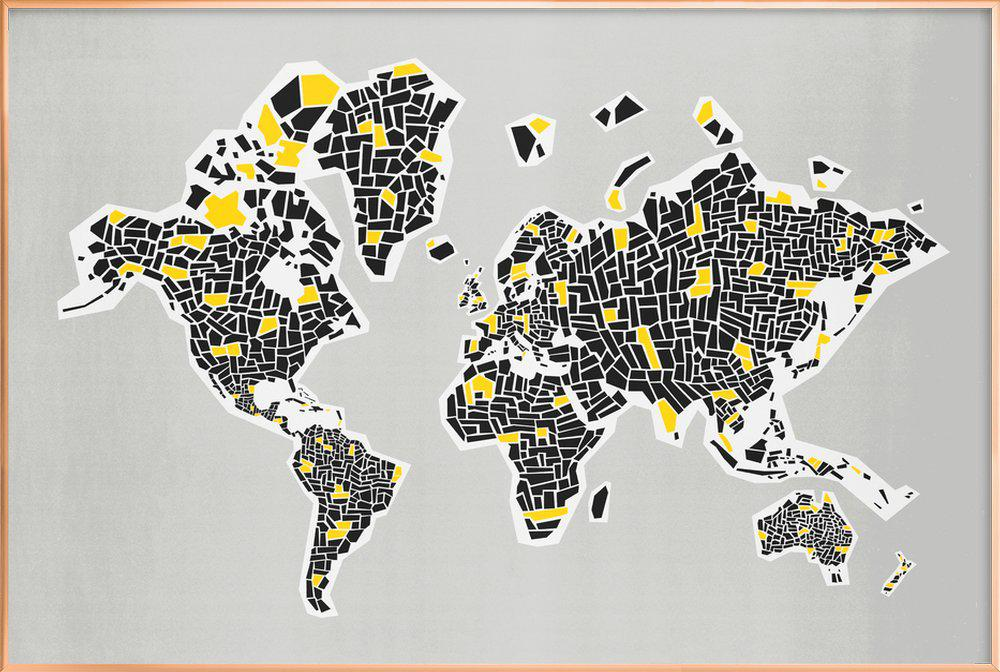 Abstract World Map poster in aluminium lijst