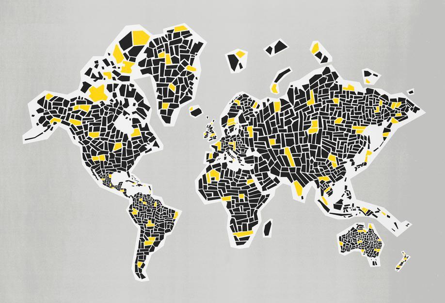 Abstract World Map -Acrylglasbild