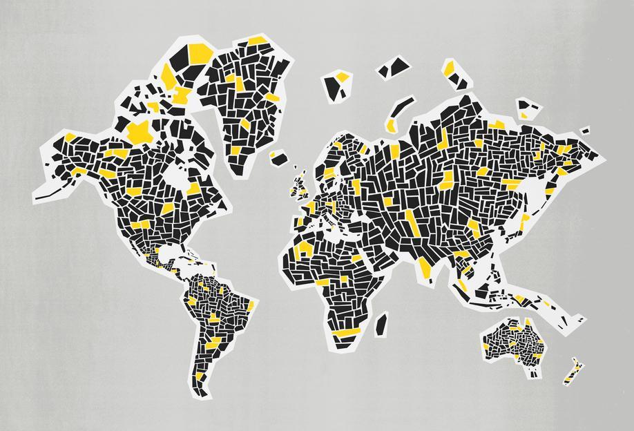 Abstract World Map alu dibond