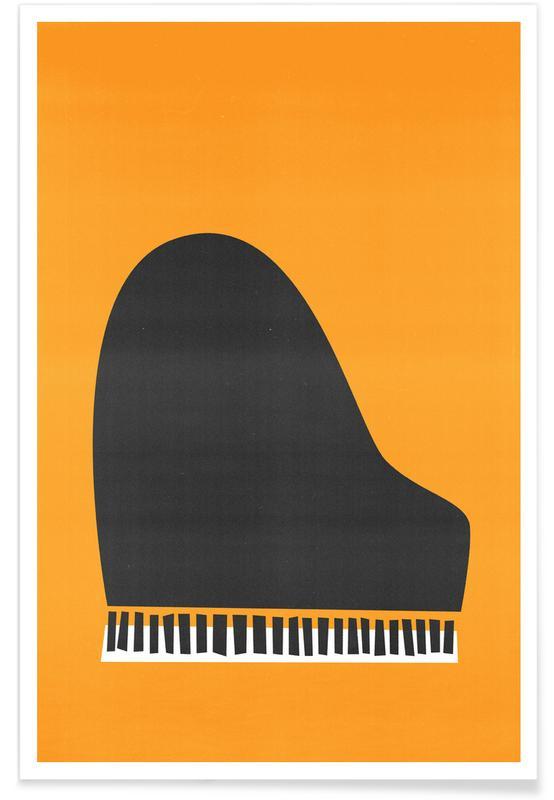 Retro, Grand Piano Poster